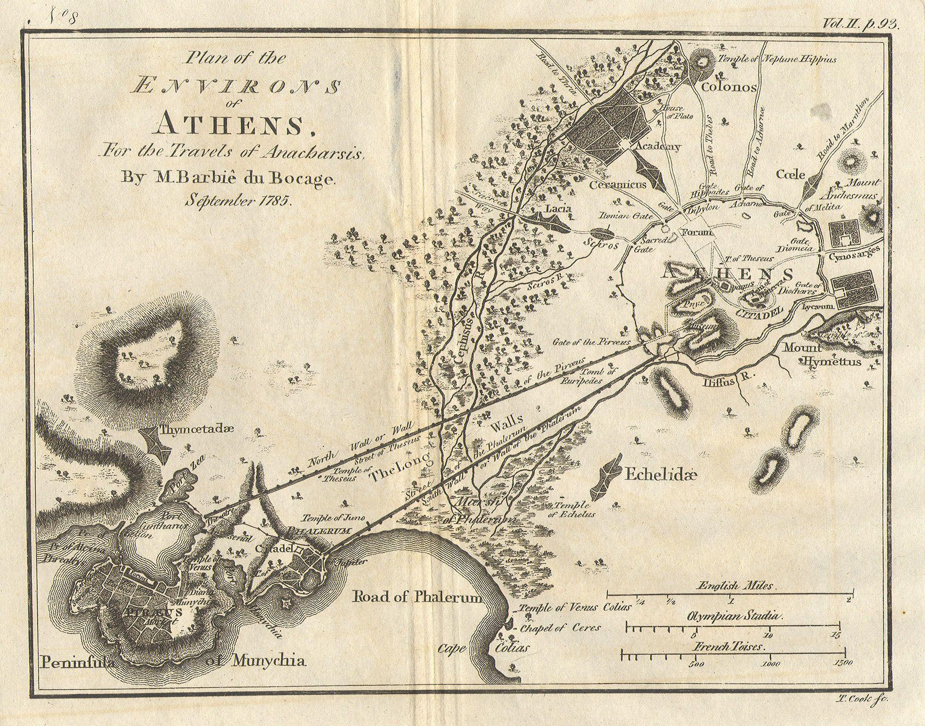 1785_Bocage_Map_of_Athens_and_Environs,original walls of athens showing Pireos and Siggrou