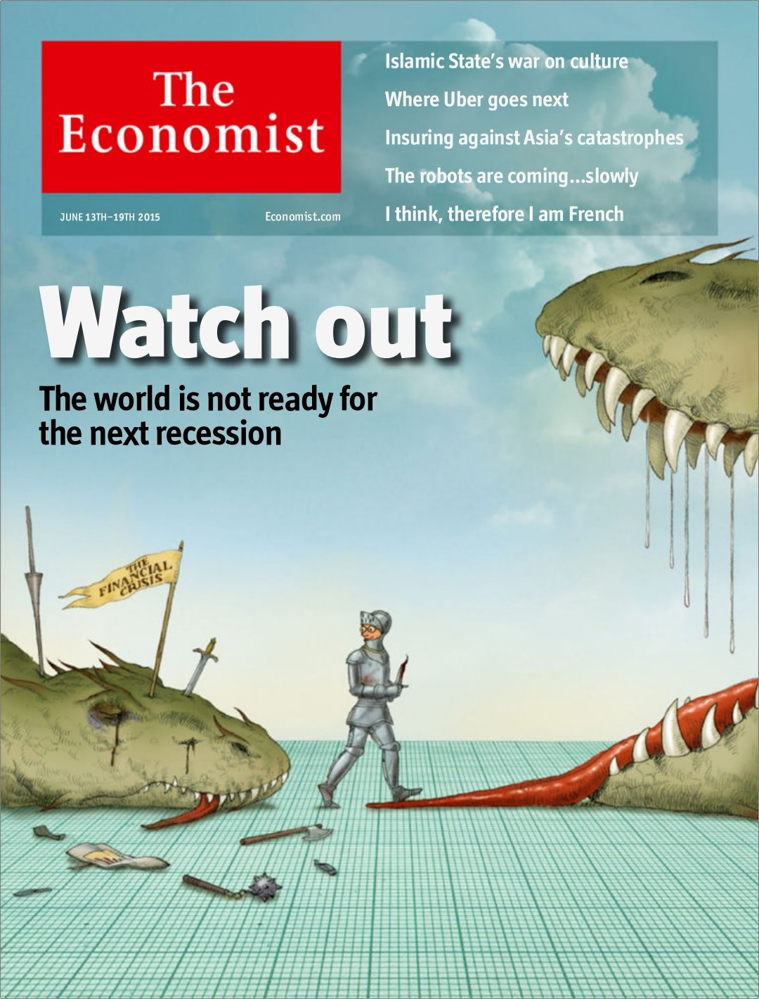 Economist cover 13 to 17 june walking into another recession