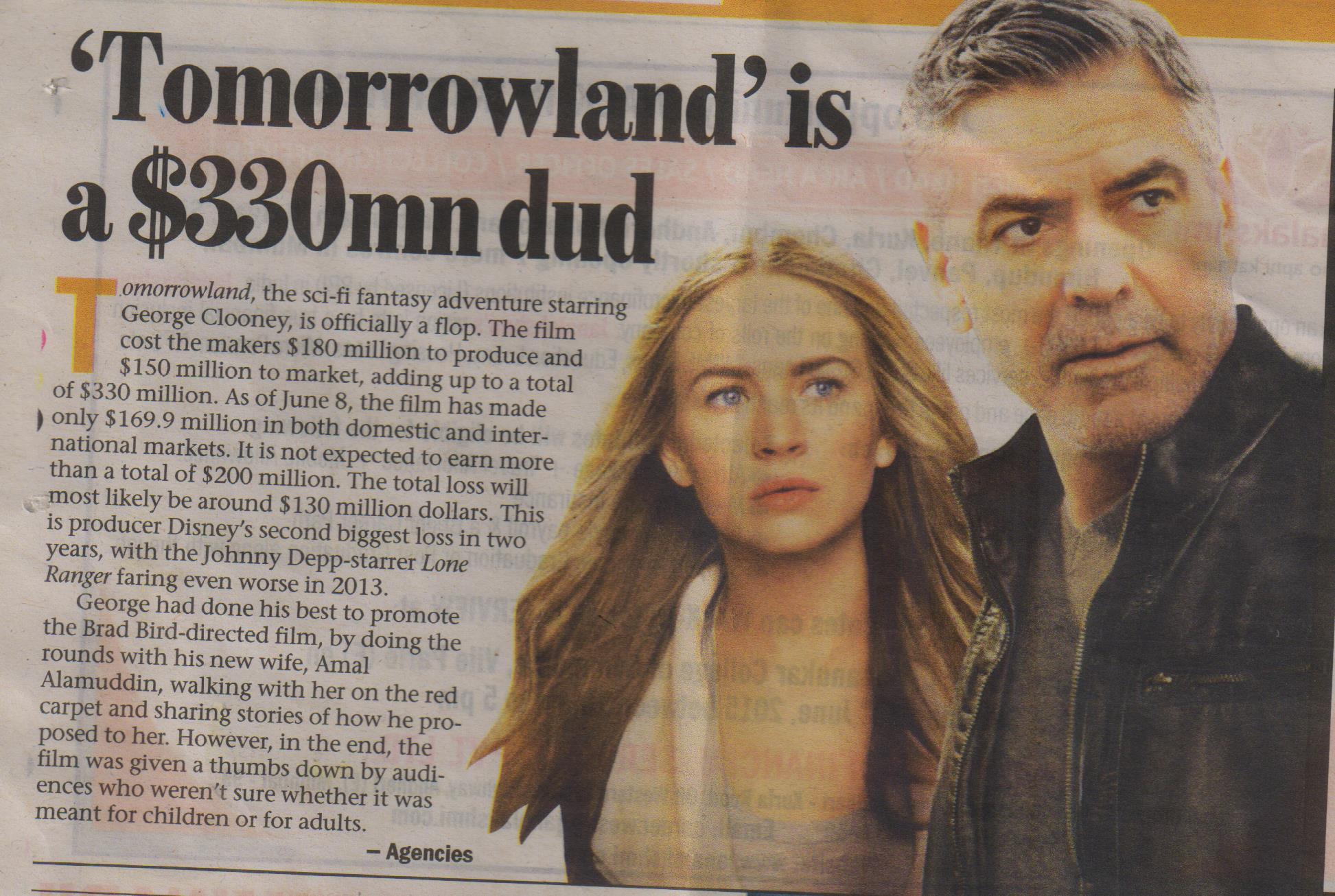 Tomorrowland is 330 mil dud