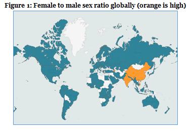 Figure 1-Female to male sex ratio globally