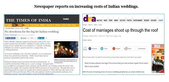 Newspaper reports on increasing costs of Indian weddings