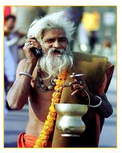 Sadhu on a phone