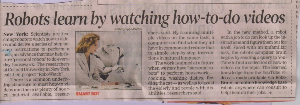 Robots learn thru how to do videos ToI Dec 28 2015
