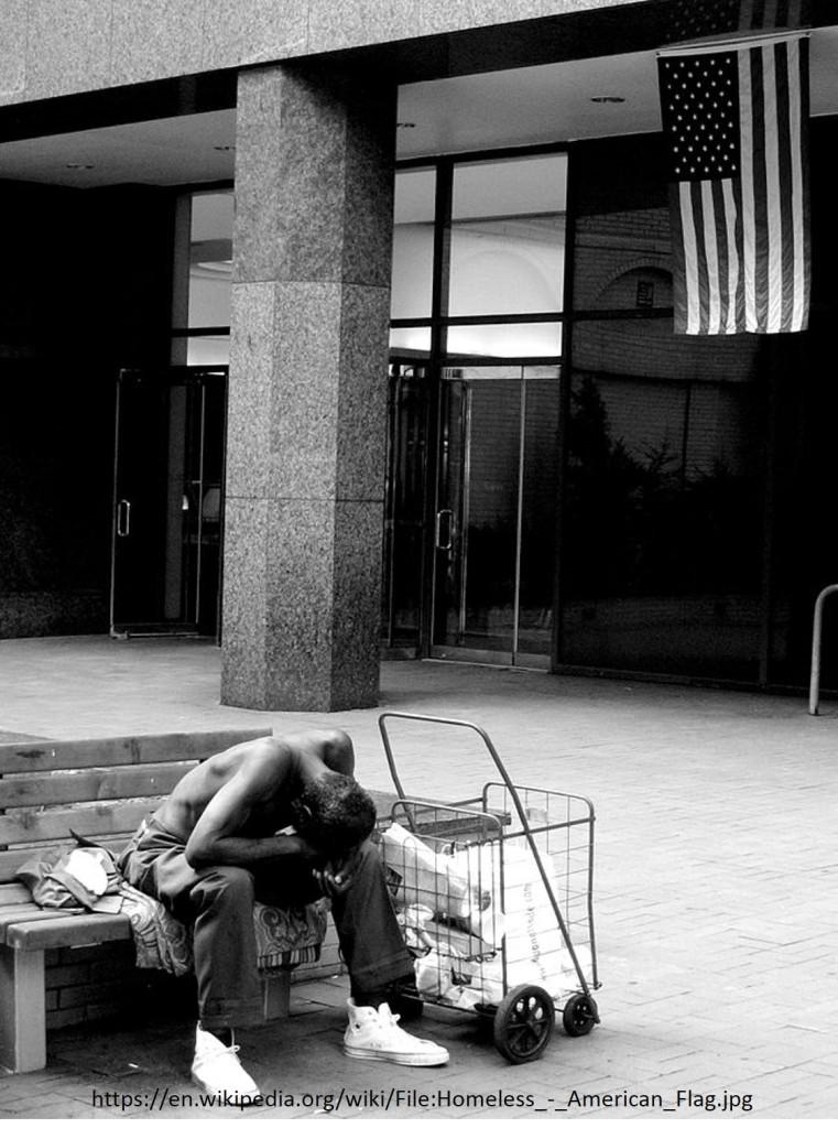 homeless americam flag